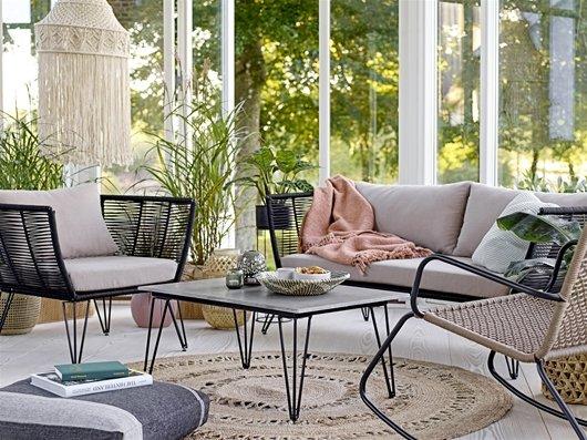 Bloomingville Outdoor sofa - black / natural - L175xH72xW74cm - Bloomingville