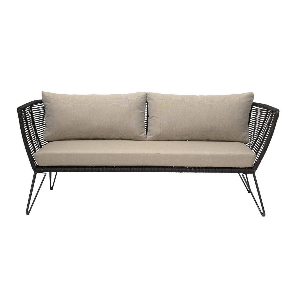 Bloomingville Outdoor sofa - black / natural - 175cm - Bloomingville