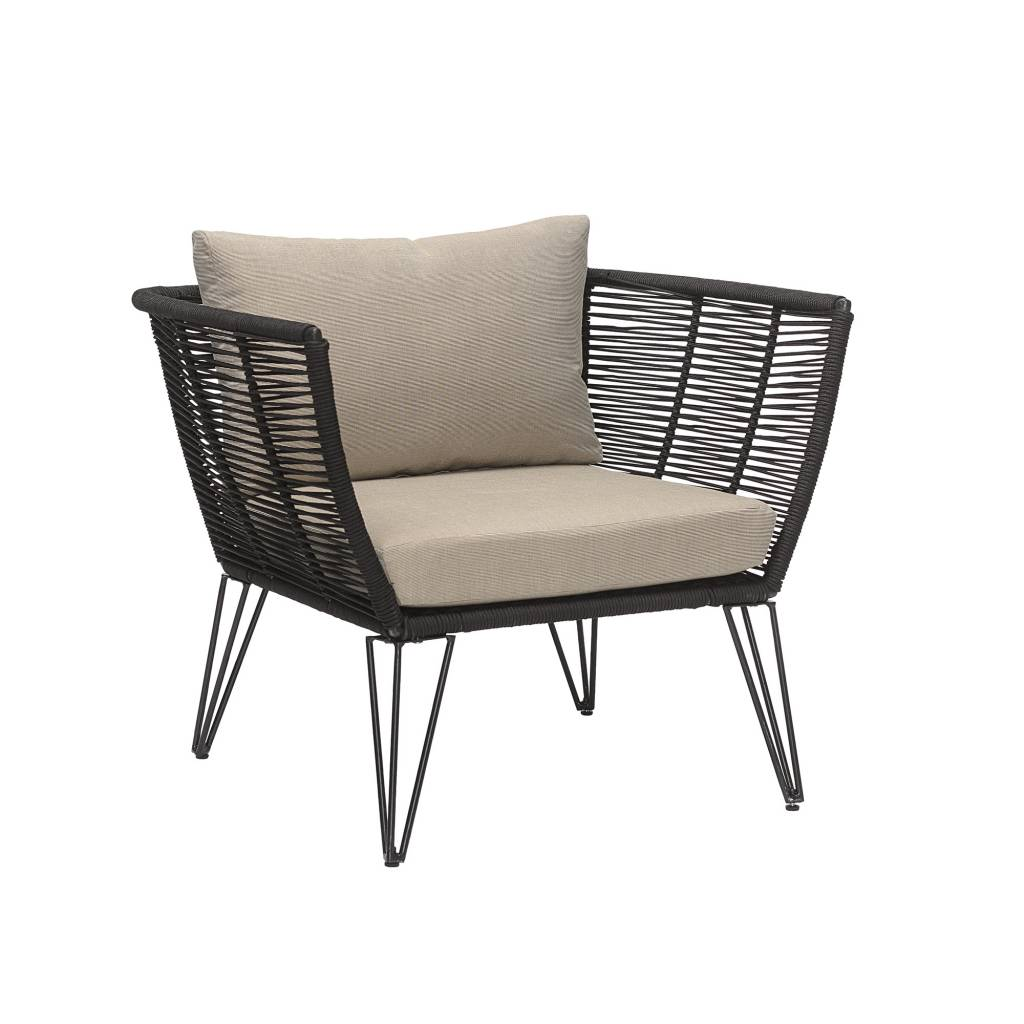 Bloomingville Outdoor lounge chair - black / natural - Bloomingville