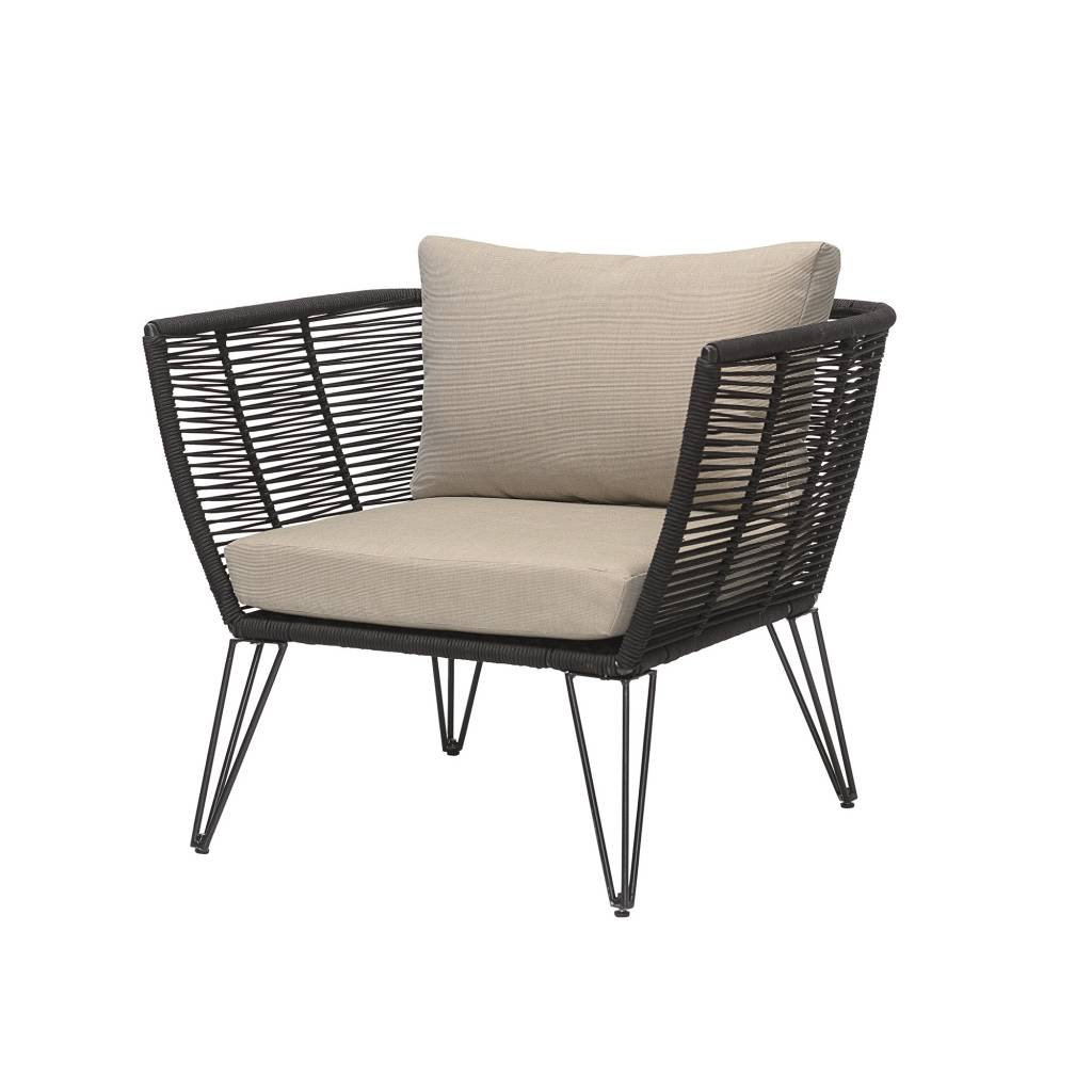 Bloomingville Outdoor lounge chair - black / natural - L87xH72xW74 - Bloomingville