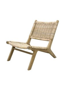 HK Living Chaise Lounge osier et bois - Naturel - HK Living