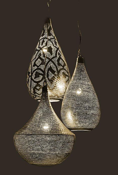 Zenza Lampe Suspension 'Elegance Filisky Small Silver' - Laiton argenté - Zenza