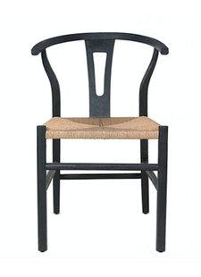 Dareels Silla de comedor ROB - teca y cuero - Negro / Natural - Dareels