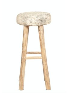 Dareels Teak and seagrass bar stool - natural - Ø35x75cm - Dareels
