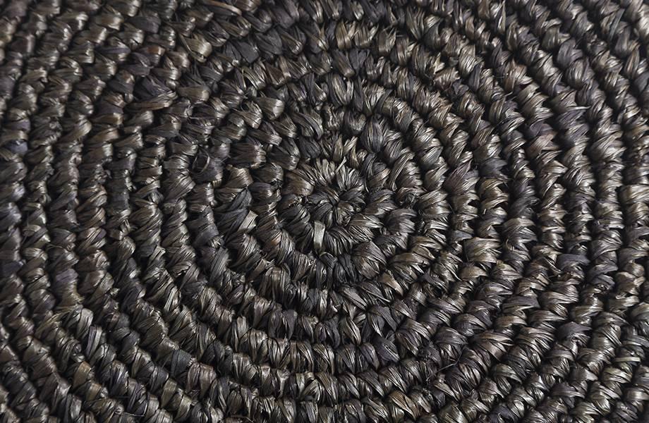 Dareels Tabouret de bar en teck et d'herbier - noir - Ø35x75cm - Dareels