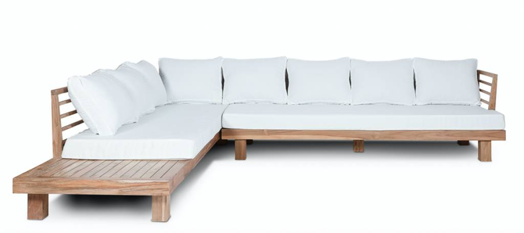 Dareels Sofá de exterior STRAUSS - polyester y teca reciclada - Blanco  - 300x250x67cm - Dareels