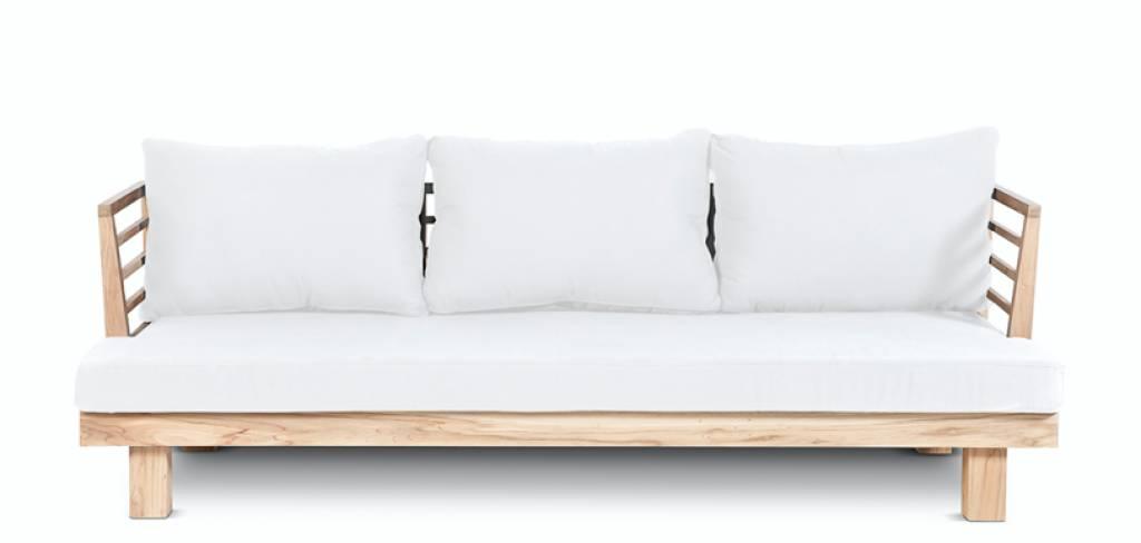 Dareels Canapé de Jardin 'STRAUSS' - teck recyclé et polyester - Blanc - 214x82x67cm - Dareels