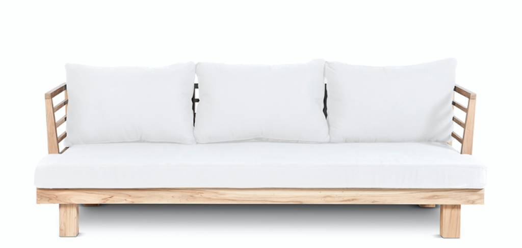 Dareels White outdoor sofa 'STRAUSS' - recycled teak and polyester - 214x82x67cm - Dareels