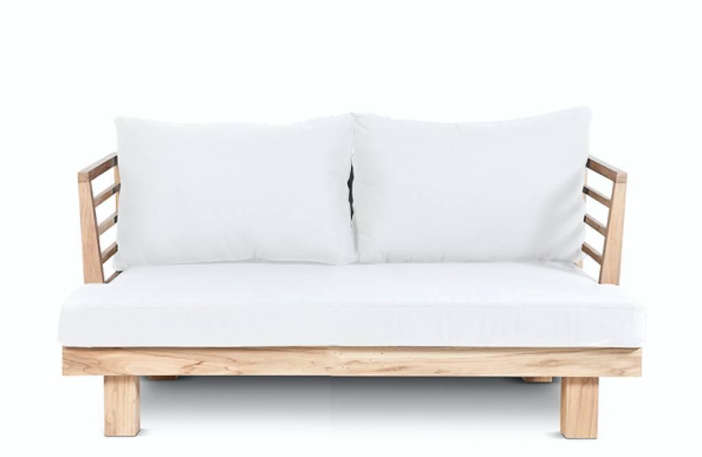 Dareels Canapé de Jardin 'STRAUSS' - teck recyclé et polyester - Blanc - 130x82x67cm - Dareels