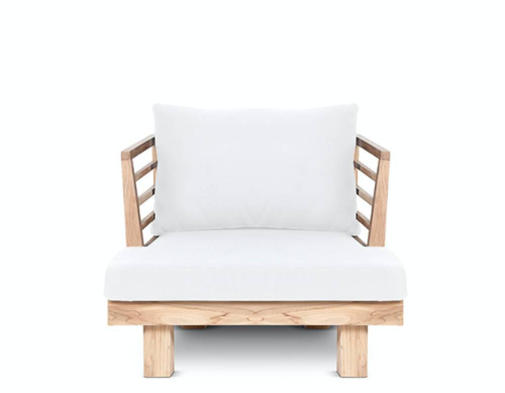 Dareels Fauteuil de Jardin 'STRAUSS' - teck recyclé et polyester - Blanc - 84x82x67cm - Dareels