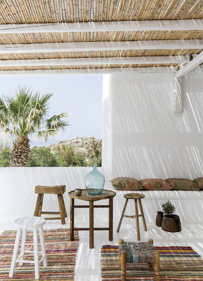 Bamboo at Elmwood furniture at the Boho styled San Giorgo hotel in Greece