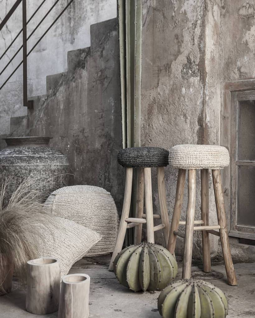 Dareels Teak and seagrass bar stool - black - Ø35x75cm - Dareels