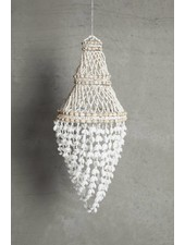 TineKHome Suspension lustre en coquillages - Ø30x60cm - blanc naturel - Tinek Home