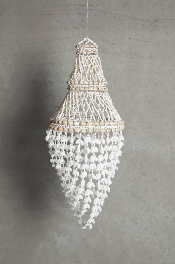 TineKHome Suspension lustre en coquillages - Ø30x60cm - blanc naturel - Tinek Home