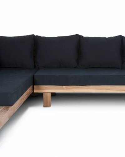Amazing Dareels Black Outdoor Sofa Strauss Recycled Teak And Polyester 300X250Cm Cjindustries Chair Design For Home Cjindustriesco