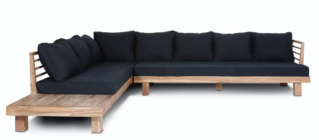 Dareels Canapé de Jardin 'STRAUSS' - teck recyclé et polyester - noir - 300x250cm - Dareels