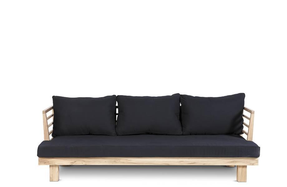 Dareels Canapé de Jardin 'STRAUSS' - teck recyclé et polyester - black - 214x82cm - Dareels