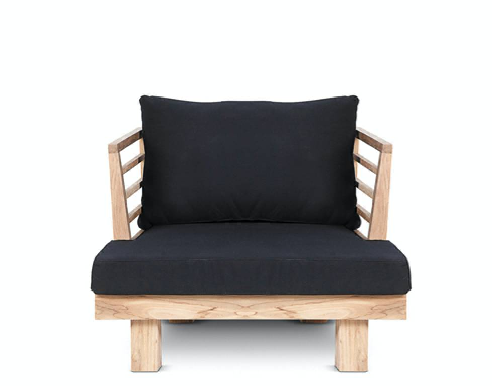 Dareels Fauteuil de Jardin 'STRAUSS' - teck recyclé et polyester - noir - 84x82cm - Dareels