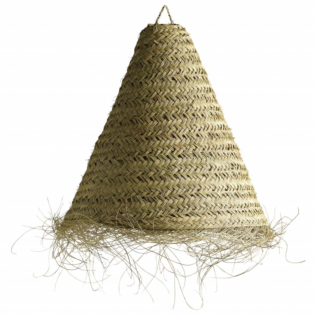 TineKHome Lamp shade in woven palmleaves with fringes - Ø70xh65cm - naturel - Tine k Home