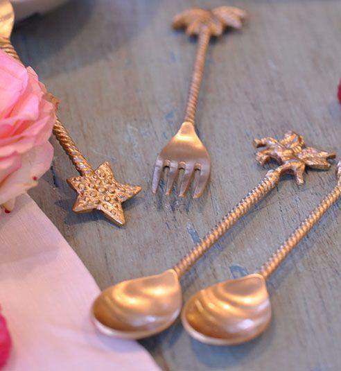 Doing Goods Palmtree dessert fork set of 2 - Gold shiny - Doing Goods