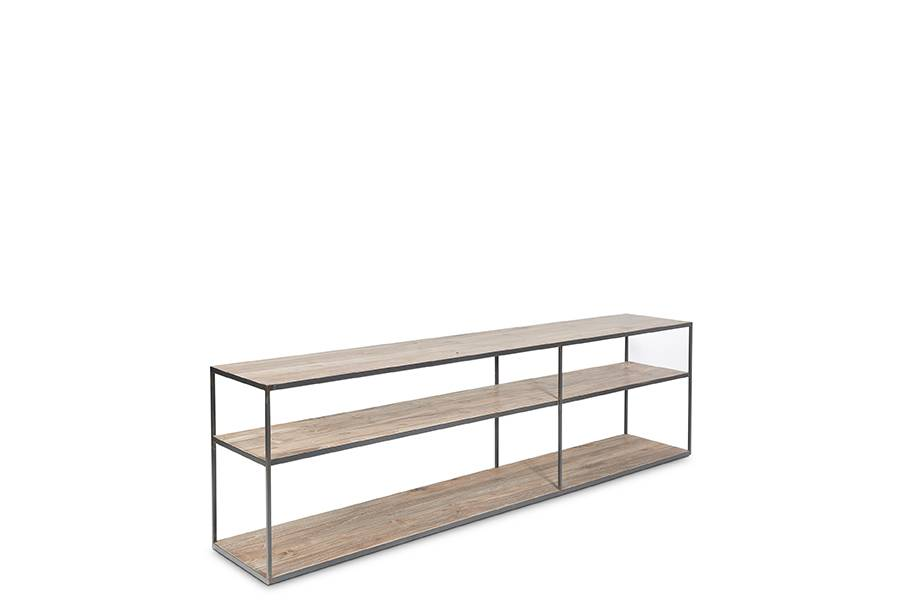 Dareels Shelving / TV stand ONETWO 200 - natural teak / black iron  200x37xh63cm - Dareels