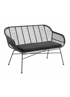 Nordal Black wicker outdoor bench with pillow - 126cm - Nordal