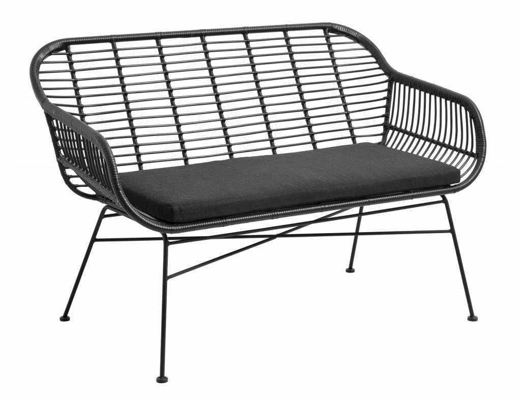 Banc / Canapé de jardin en osier avec coussin - noir - 126x76x83cm - Nordal