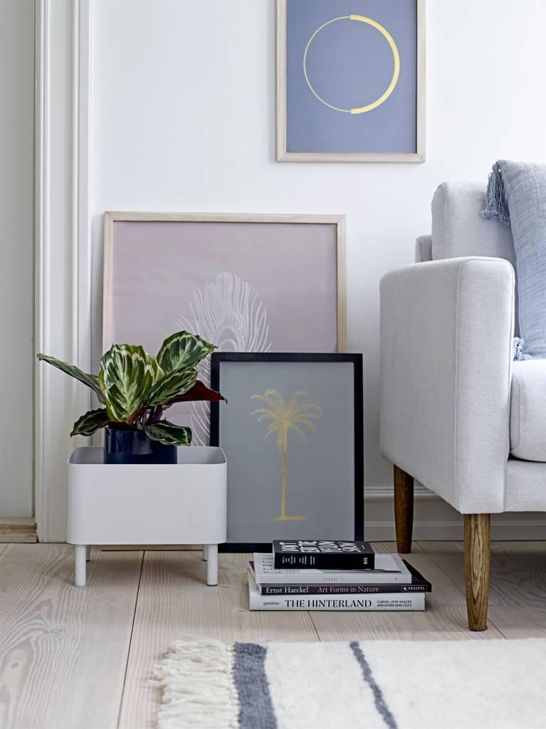 Bloomingville Coussin 100% lin - bleu - 50x50cm - Bloomingville