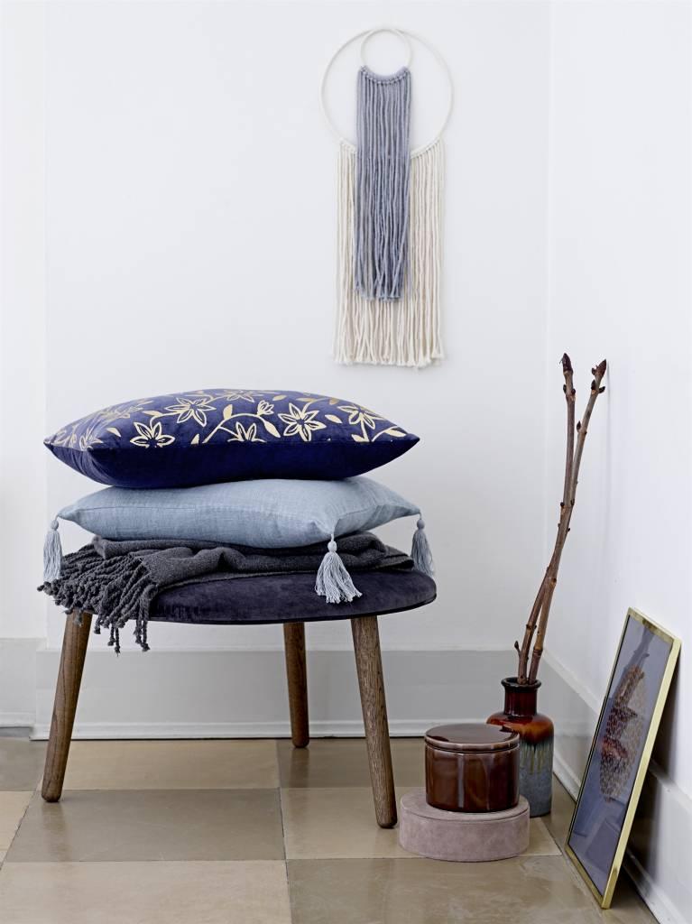 Bloomingville Cushion 100% linen - blue - 50x50 - Bloomingville