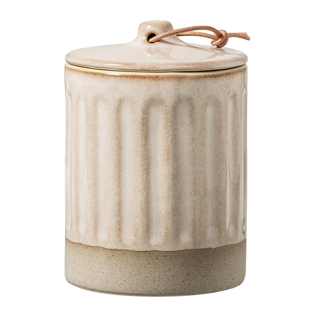 Bloomingville Stoneware Jar with Lid - Ø8,5xH12cm - Natural - Bloomingville