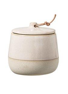 Bloomingville Pot en grès avec couvercle - Ø10xH10cm - naturel - Bloomingville