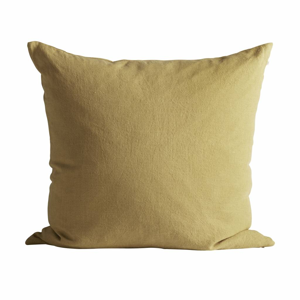 TineKHome Housse de coussin 100% lin - sable - curry - 60x60cm - TinekHome