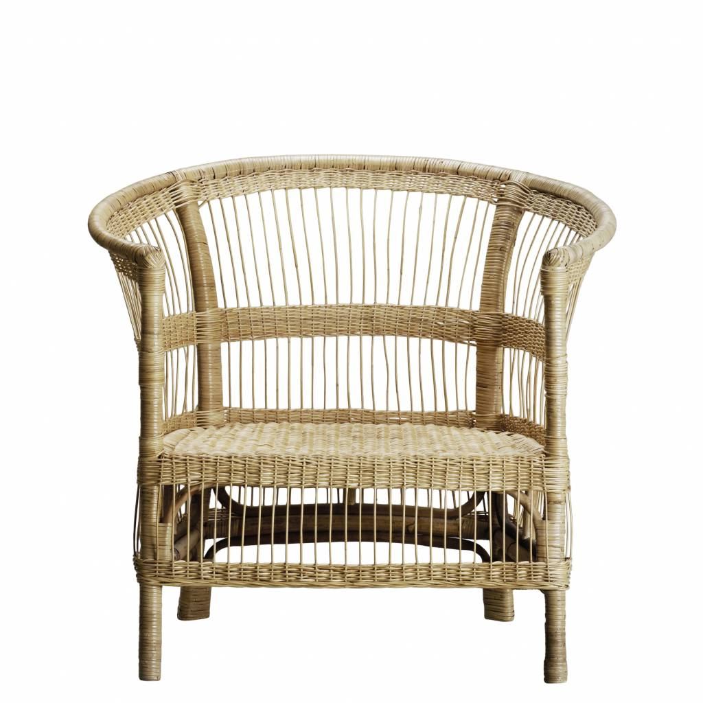 TineKHome Rattan Lounge Chair Boho-Chic - Natural - 75xH36/88 cm - TinekHome