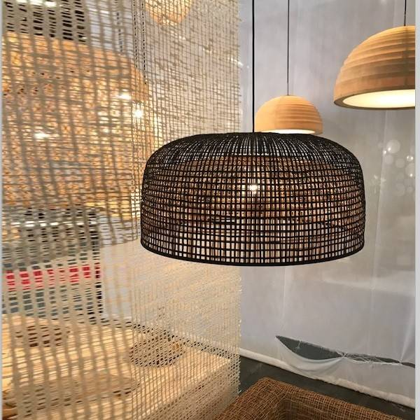 Ay Illuminate Bamboo Pendant Lamp Doppio Grid - Dark - Ø80x41cm - Ay illuminate