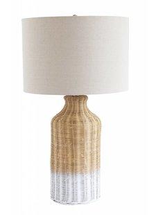 Bloomingville Lámpara de mesa bambú - natural blanco - Ø18xh68cm - Bloomingville