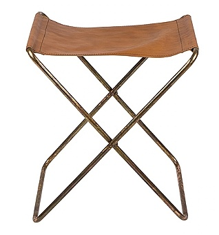 Broste Copenhagen Folding Chair 'Nola' Leather / Iron Antique - Broste Copenhagen