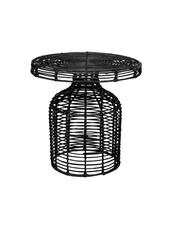 Bloomingville Side table rattan - black - Ø46xH46cm - Bloomingville
