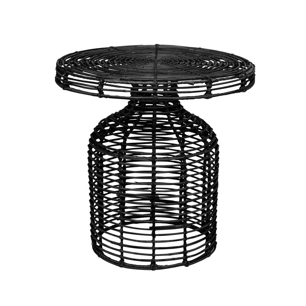 Bloomingville Table d'appoint en rotin - noir - Ø46xH46cm - Bloomingville