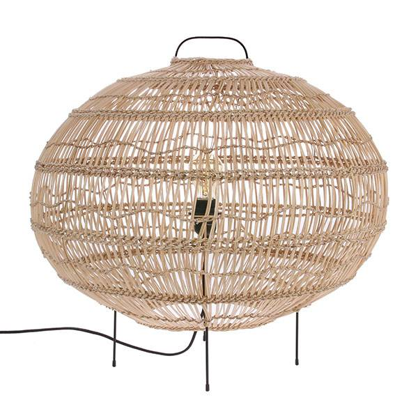 HK Living Lámpara para el suelo - Forma Oval - mimbre - 60x56cm - HK Living