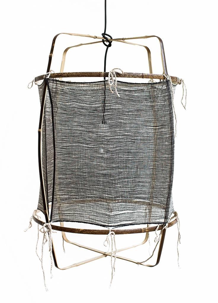 Ay Illuminate Lámpara de suspensión de bambú Z1 con seda y cachemira - Noir - Ø67xh100 CM - black - Ay illuminate