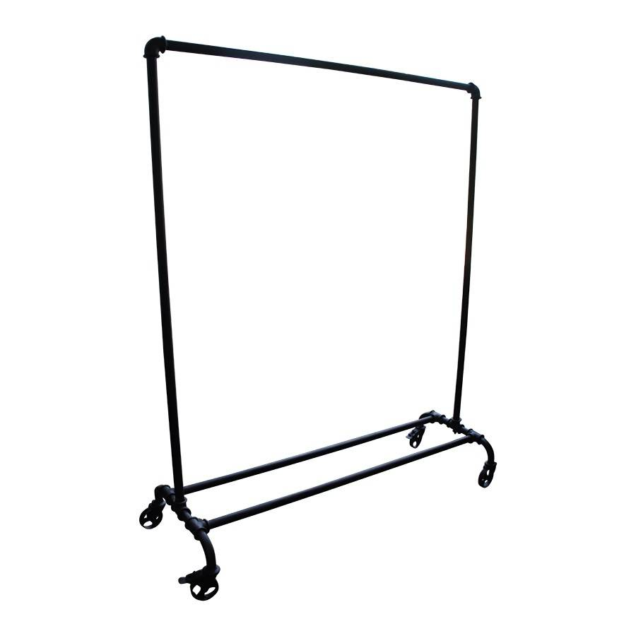 Evenaar Industrial clothing rack on wheels - black metal - 176x146x54cm