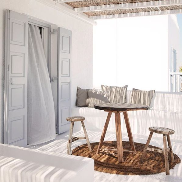 The traditional Cycladic architecture meets the chic bohemian style at the stunning San Giorgio Hotel in Mykonos