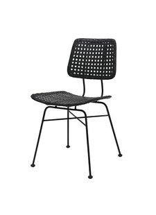 HK Living Rattan desk chair black - HK Living