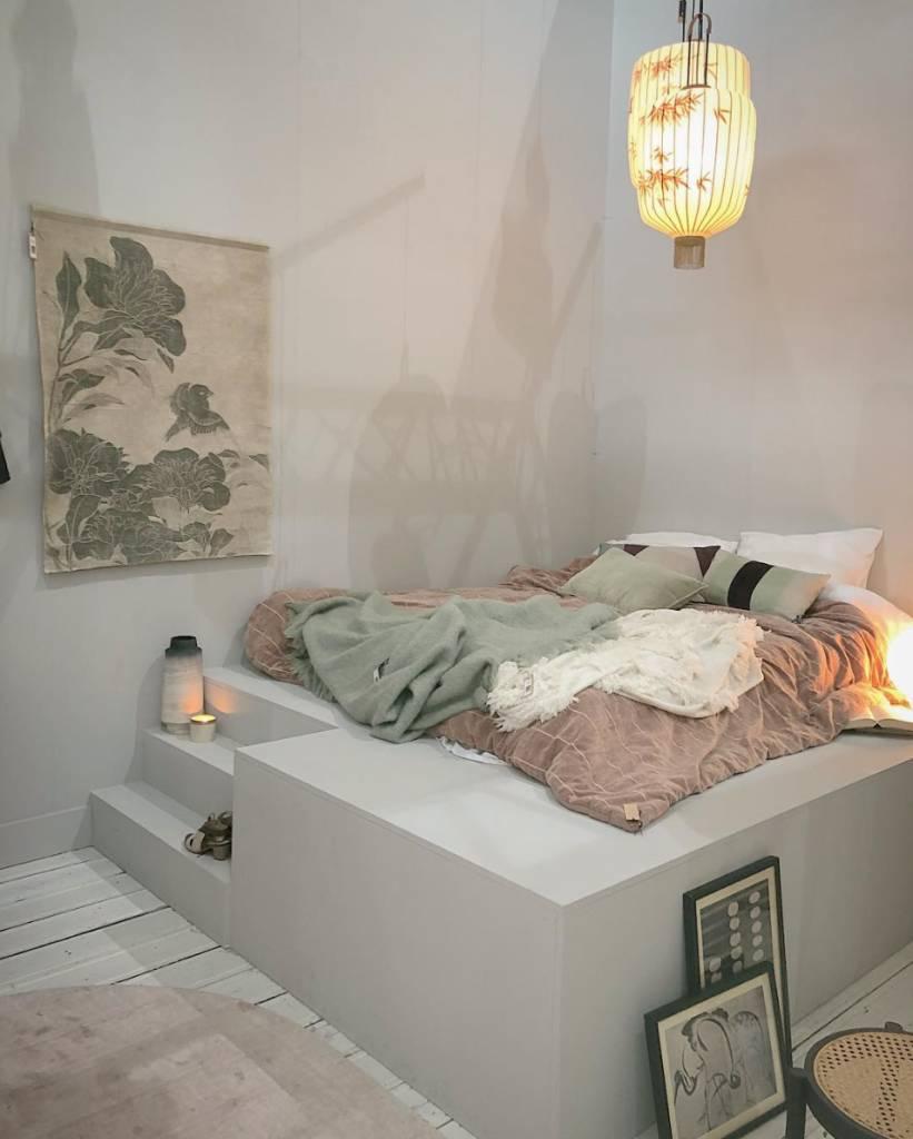 HK Living Colcha de terciopelo 'Shabby' - nude - 230x250cm - HK Living