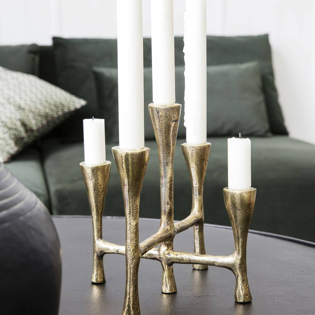 House Doctor Candle stand, tristy, brass finish - 20x19xh20cm - House Doctor