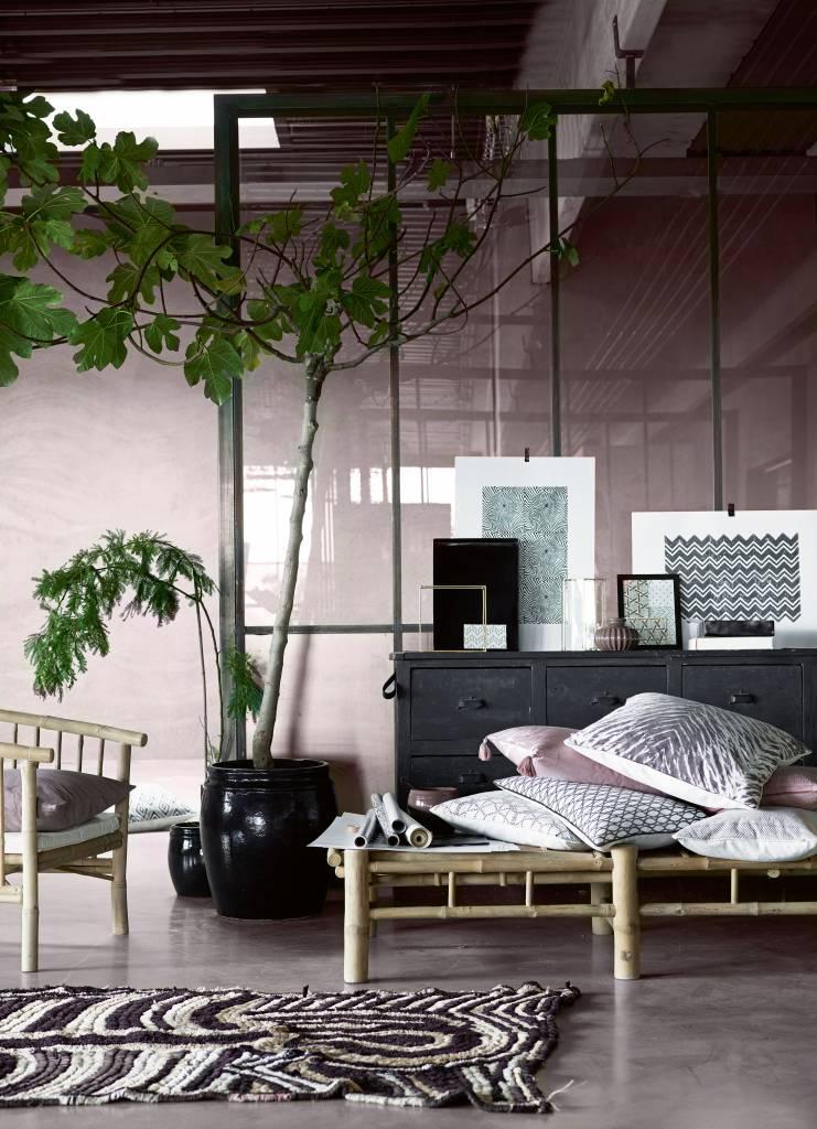 TineKHome Tumbona de bambú con cojín en blanco - 210x80xh36cm - TinekHome