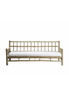 TineKHome Bamboo sofa with white mattress - Outdoor - 177x76xh70cm - Tinekhome