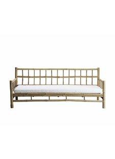 TineKHome Banco al aire libre en bambu con cojín - blanco - 177x76xh70cm - Tinekhome
