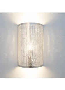 Zenza Lampe murale Cylindre Filisky - Laiton argenté -  17,5xh30cm - Zenza Home