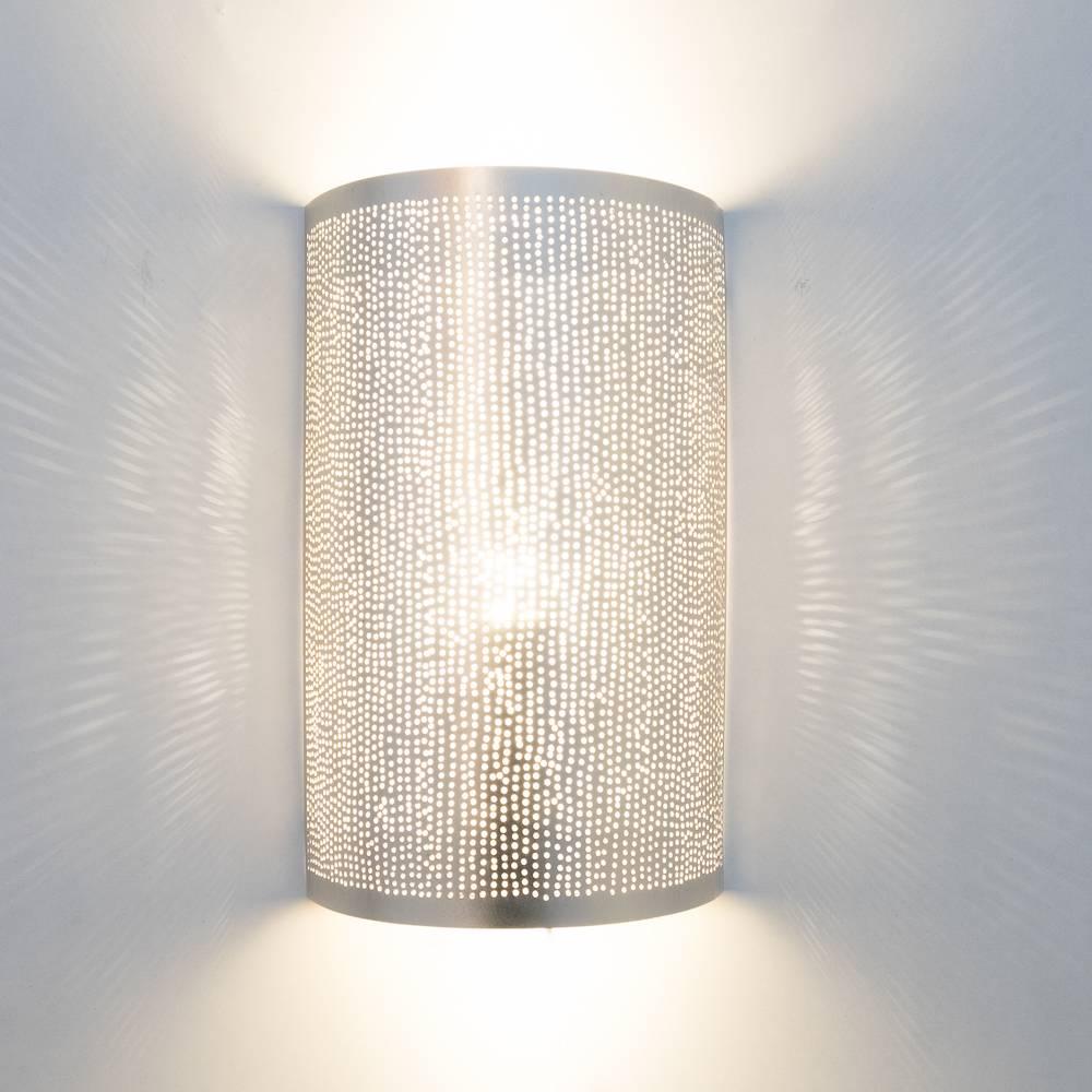 Zenza Lampe murale Cylindre Filisky - Laiton argenté -  17,5x9,5x30cm - Zenza Home - Copy